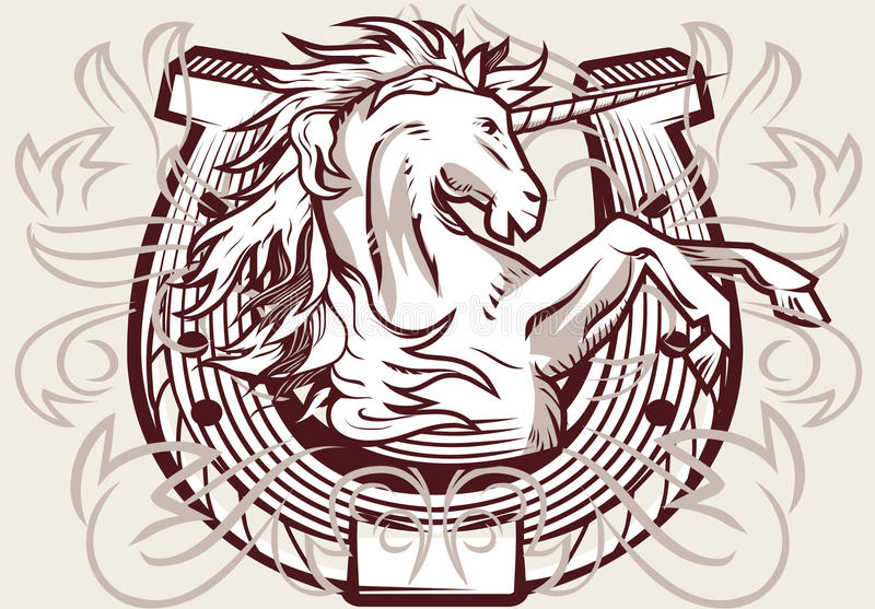 Download Unicorn Horseshoe Crest stock vector. Image of insignia - 31919014