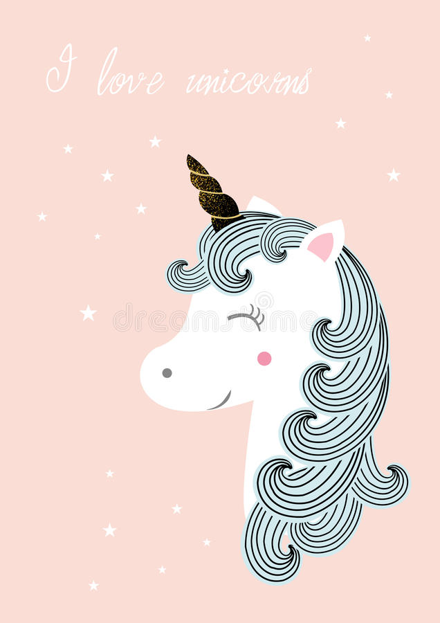 Download Unicorn -  illustration stock vector. Image of head, funny - 83720675