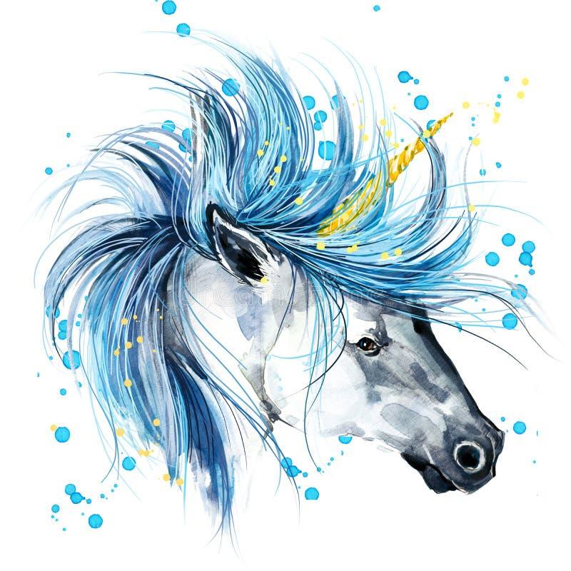unicorn Illustrazione dell'acquerello dell'unicorno Unicorno magico illustrazione vettoriale