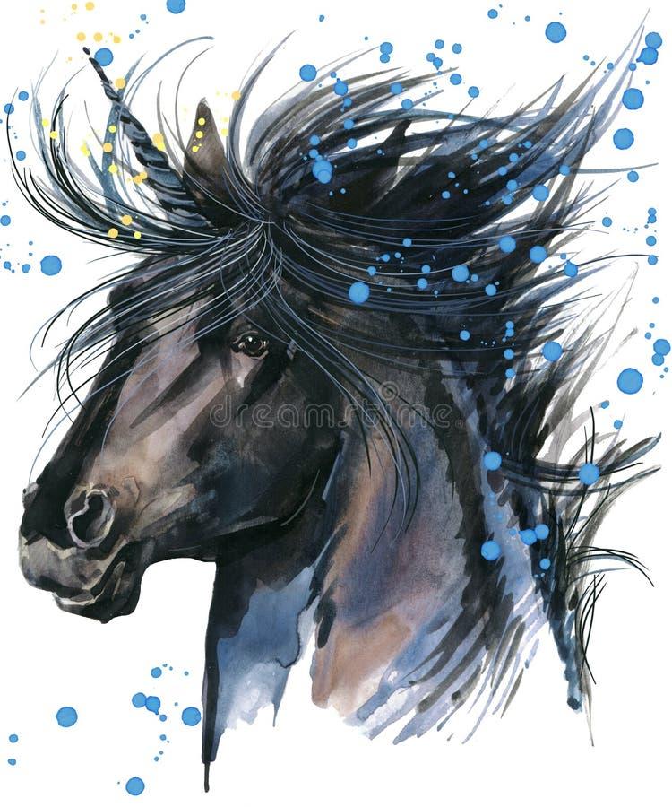 unicorn Illustrazione dell'acquerello dell'unicorno Unicorno magico royalty illustrazione gratis