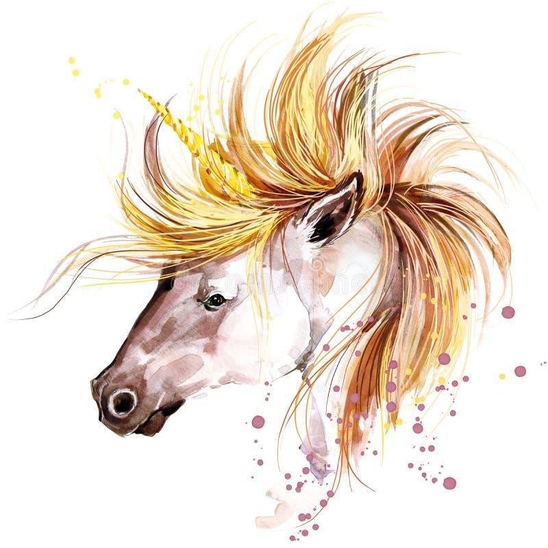 unicorn Ilustração da aquarela do unicórnio Unicórnio mágico ilustração royalty free
