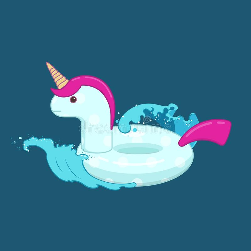 Unicorn inflatable pool float on the waves. Cute unicorn inflatable pool float on the waves. Inflatable swimming pool ring. Flat vector illustration on blue vector illustration