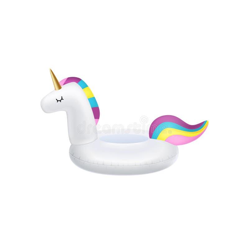 Unicorn inflatable swimming pool ring, tube, float. Vector realistic 3d unicorn icon. stock illustration