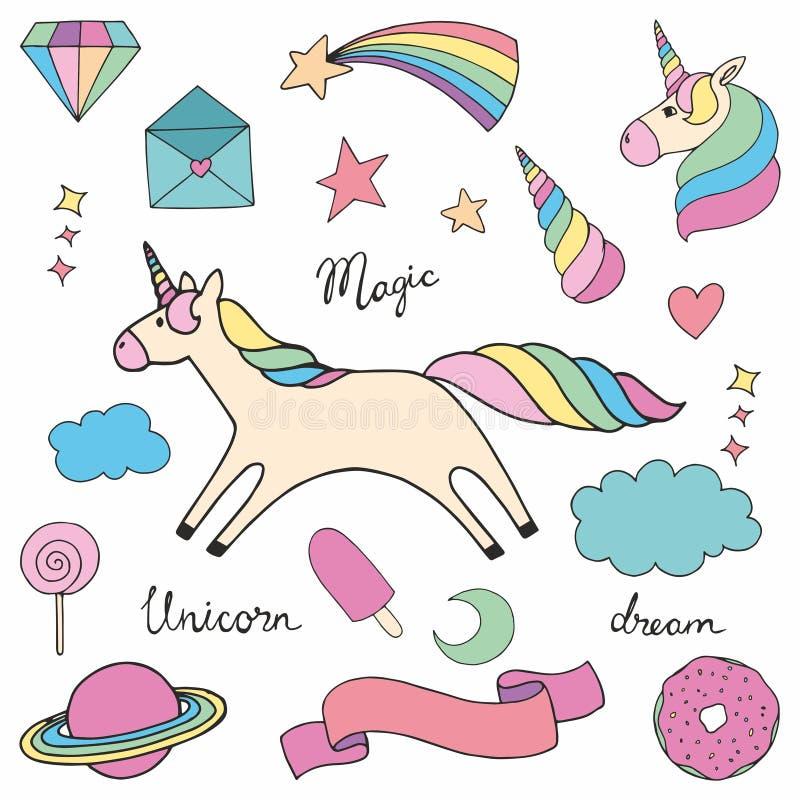 unicorn Insieme delle illustrazioni variopinte di vettore per progettazione illustrazione di stock