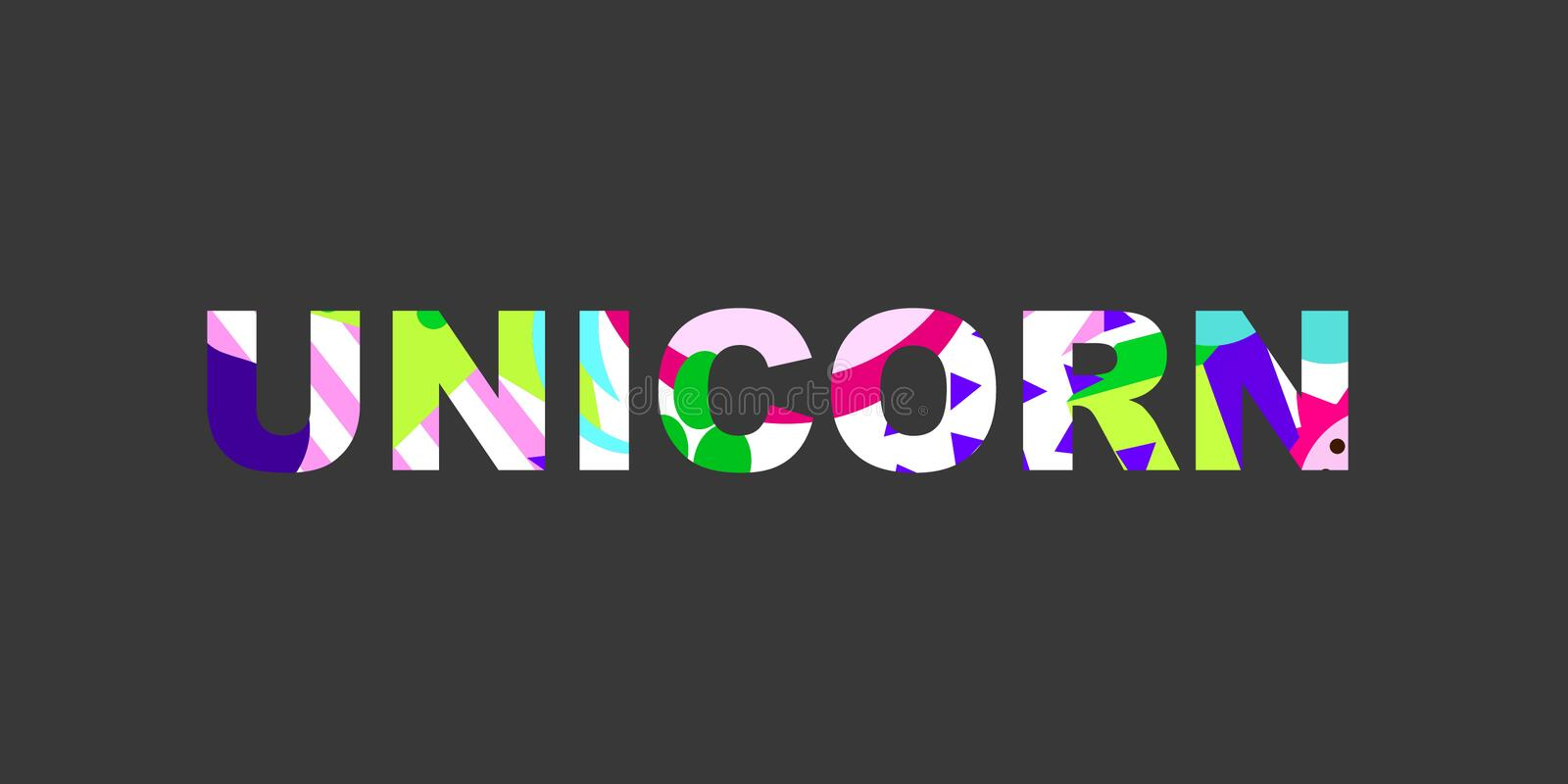 Textural word. Unicorn - inspirational word with a unique bright texture. Good for any printed products, Internet content. Vector illustration vector illustration