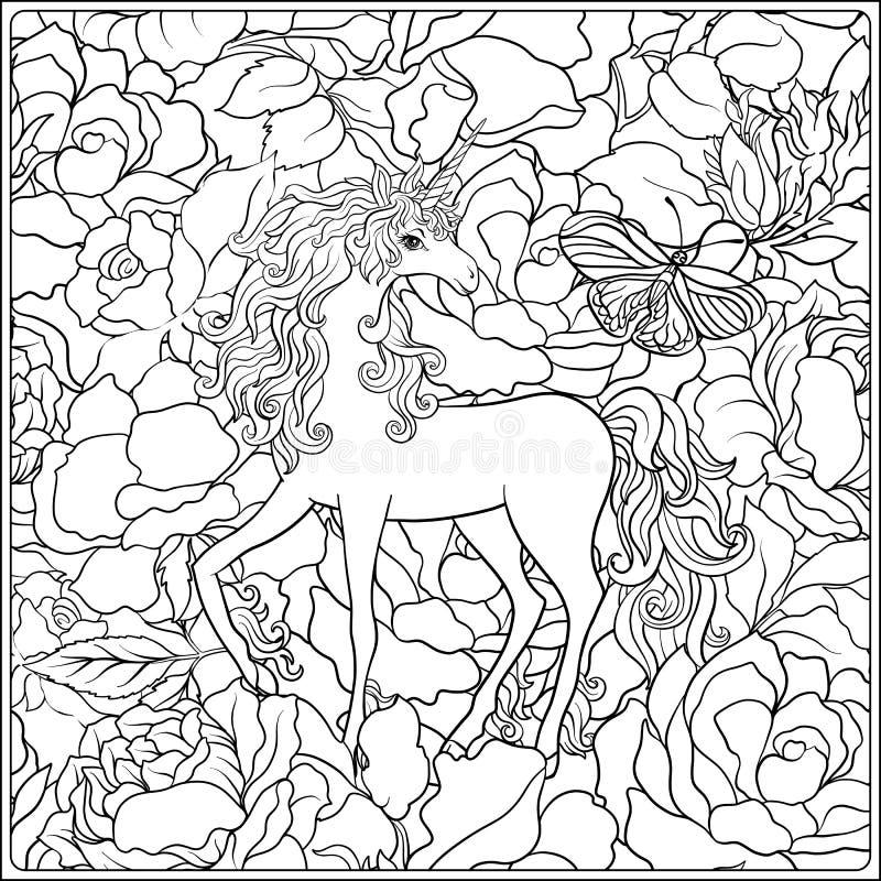 unicorn La composizione consiste di un unicorno circondato da un mazzo delle rose royalty illustrazione gratis