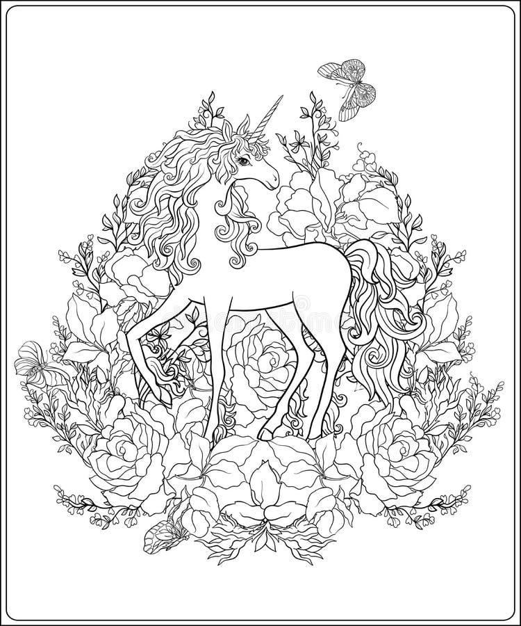 unicorn La composizione consiste di un unicorno circondato da una b illustrazione vettoriale