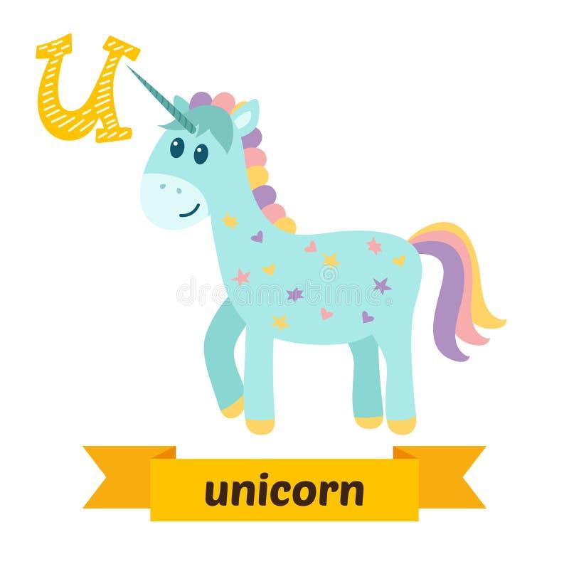 unicorn Lettera di U Alfabeto animale dei bambini svegli nel vettore Funn royalty illustrazione gratis