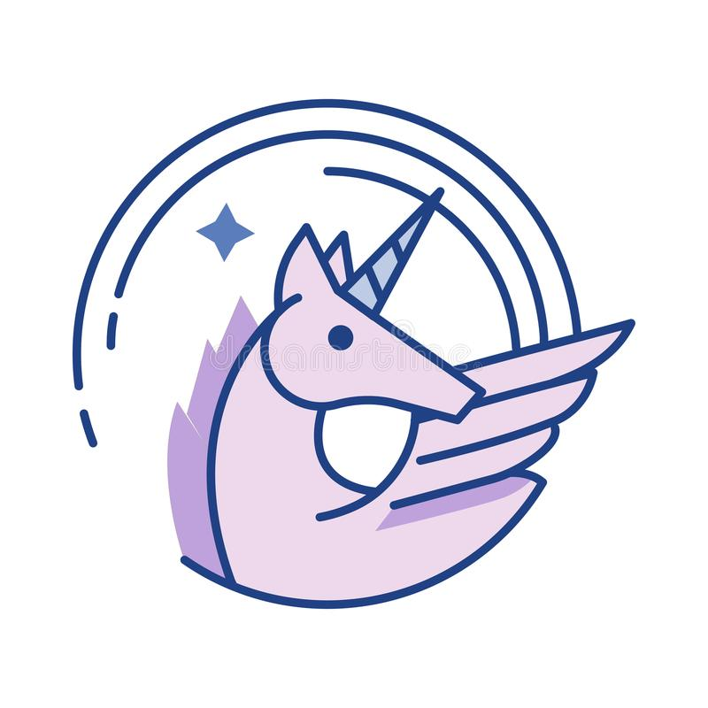 Unicorn Line Color Icon vektor illustrationer