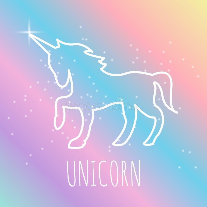 Unicorn logo design. Unicorn logo, vector design with rainbow pastel background stock illustration