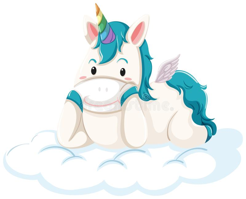 A unicorn lying down on the cloud royalty free illustration
