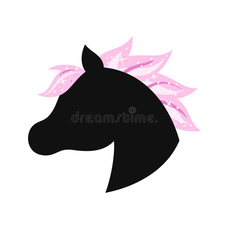 Unicorn lying on the ground silhouette. Vector illustration isolated on white background stock illustration