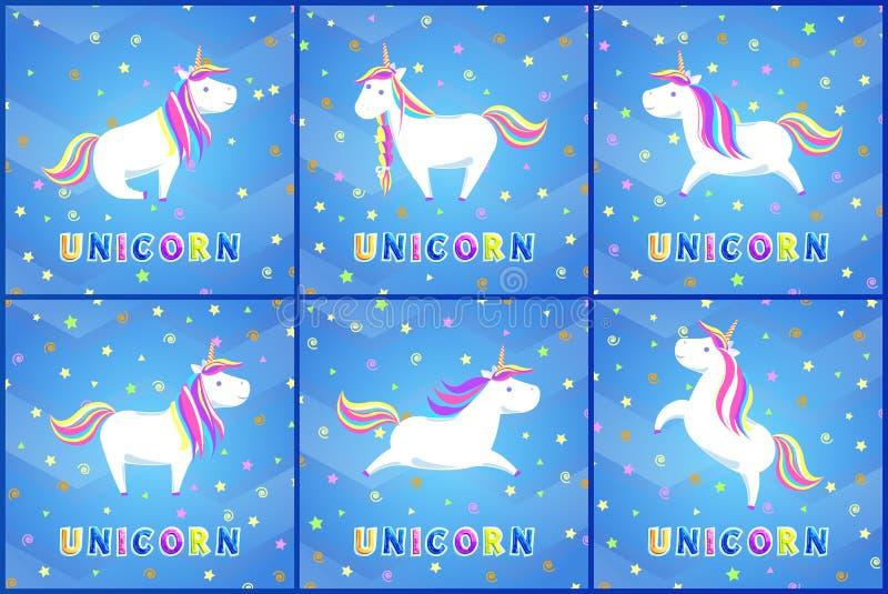Unicorn Magic Animal Posters avec le vecteur d'ensemble des textes illustration stock