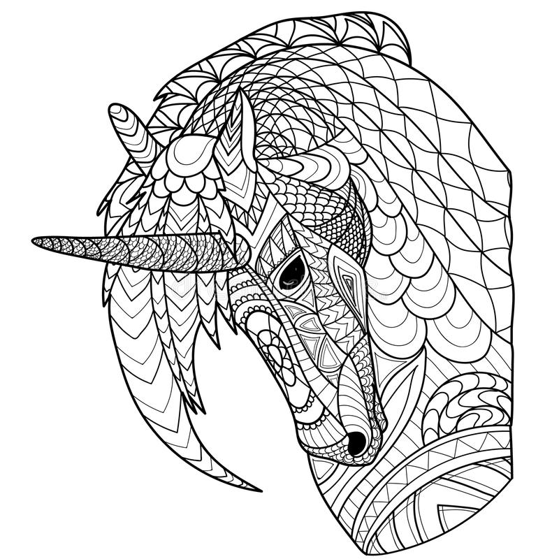 Unicorn. Magic unicorn with patterns. For coloring royalty free stock photos