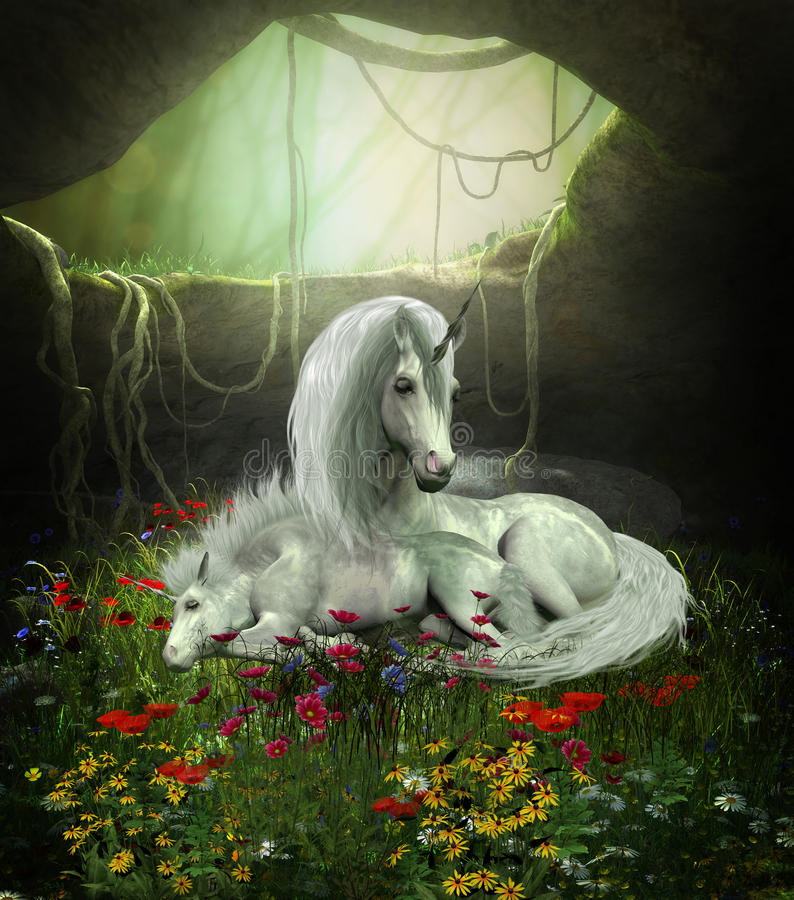 Unicorn Mare and Foal. A Unicorn mother guards her foal as they sleep in a magical forest cavern full of flowers vector illustration