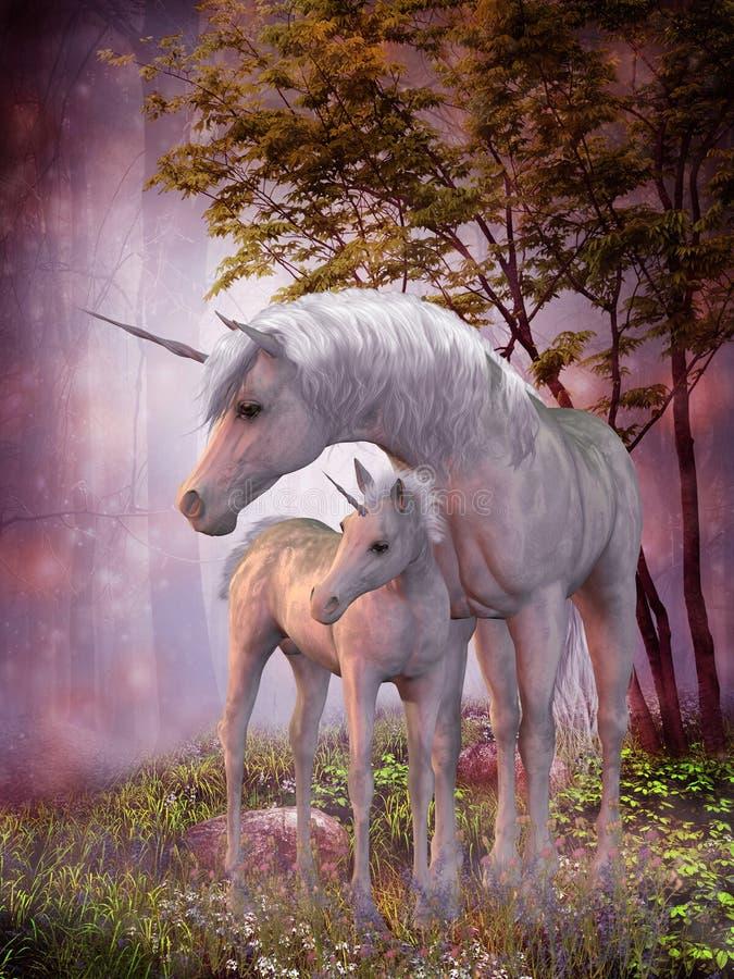 Unicorn Mare och föl royaltyfri illustrationer