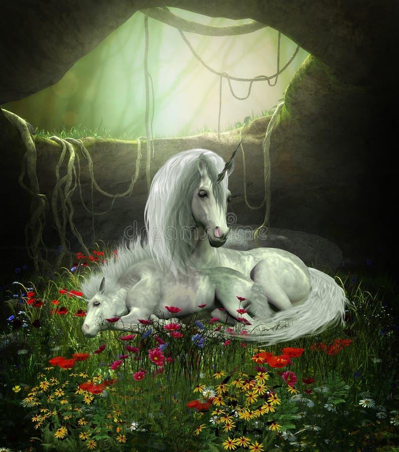 Unicorn Mare och föl vektor illustrationer