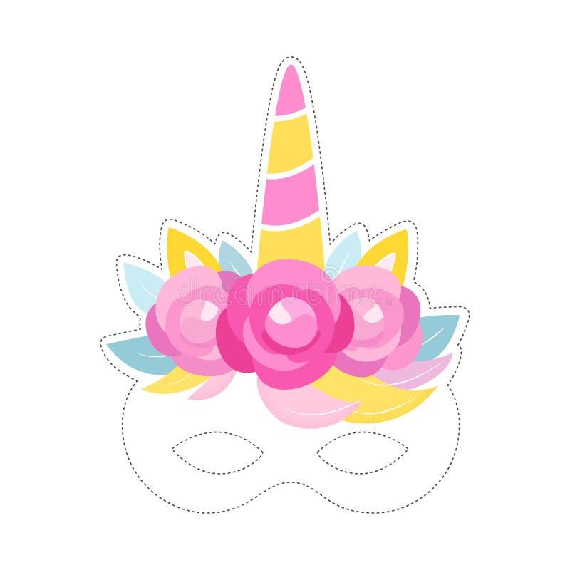 Unicorn Mask Photo Booth Prop Verjaardag of Sluimerpartijdecor Vector ontwerp stock illustratie