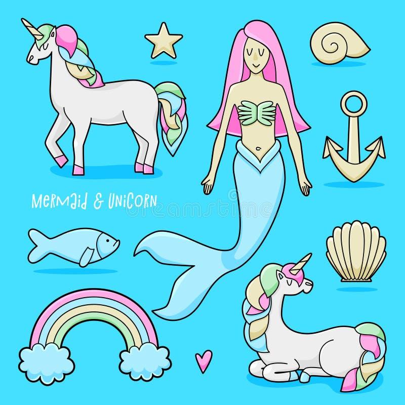Unicorn and mermaid set vector illustration