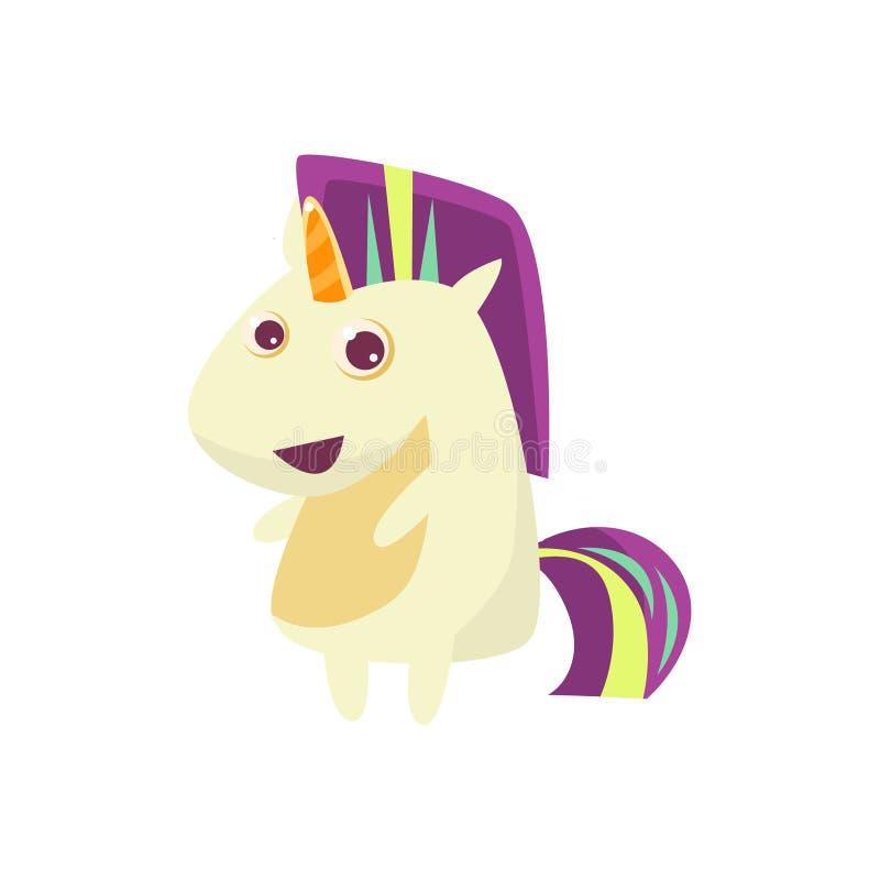 Unicorn With Multicolor Crest blanc illustration libre de droits