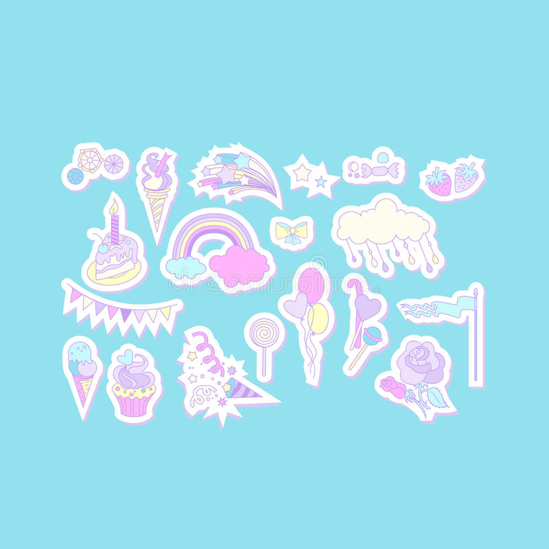 Unicorn multicolor stickers with cake, sweets, ice-cream, cloud and flag vector illustration