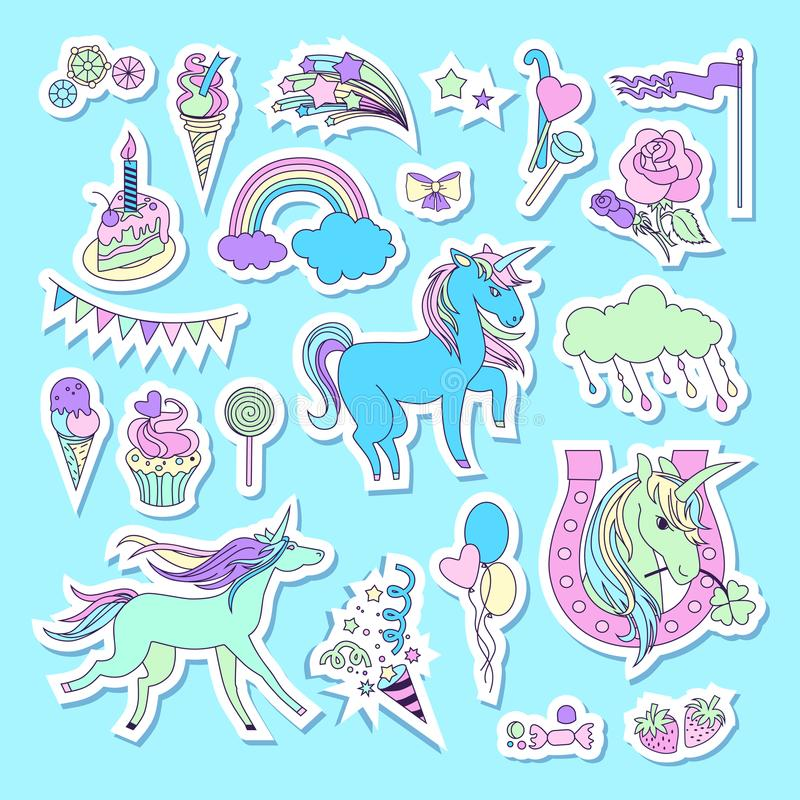 Unicorn multicolor stickers with unicorn, cloud, cake, sweets, ice-cream, baloons, rose and flag royalty free illustration