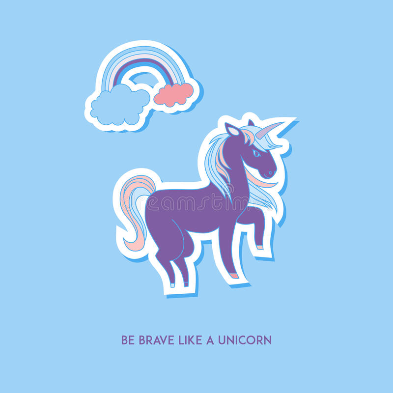 Unicorn multicolor stickers with rainbow, unicorn and cloud stock illustration