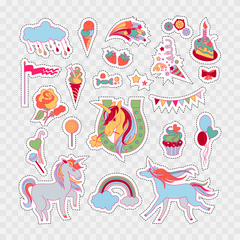 Unicorn multicolor stickers with rose, cake, sweets, ice-cream, cloud, stars, flag, baloons and unicorns royalty free illustration