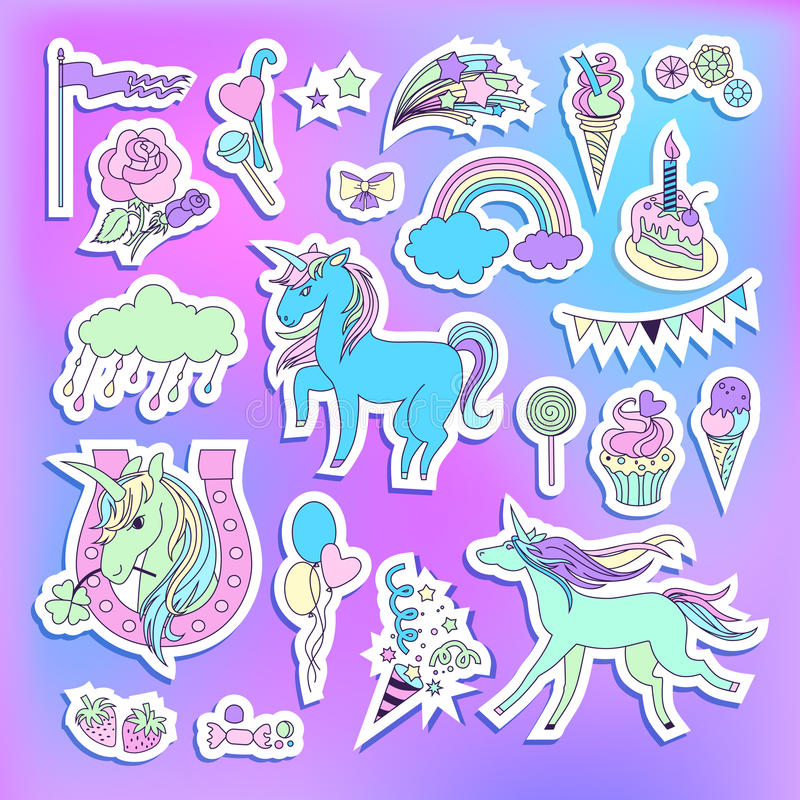 Unicorn multicolor stickers with unicorns, balloons, cake, sweets, ice-cream, cloud, stars, fireworks and flag royalty free illustration