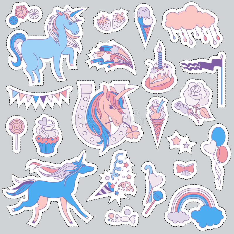 Unicorn multicolor stickers with unicorns, balloons, cloud, stars, ice-cream, fireworks, cake, sweets, and flag vector illustration