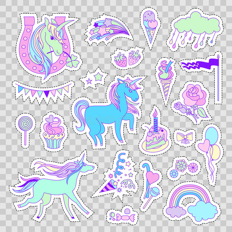 Unicorn multicolor stickers with unicorns, cake, sweets, ice-cream, cloud, stars and flag vector illustration