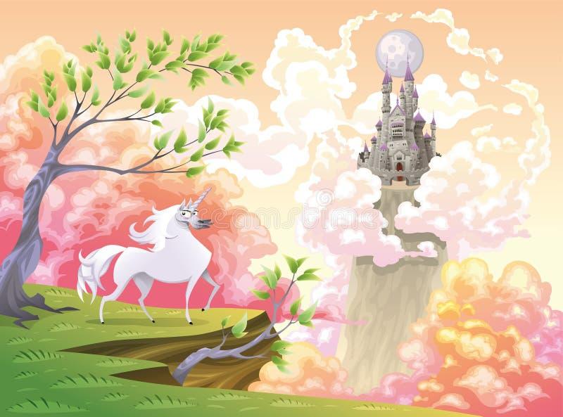 Unicorn and mythological landscape stock illustration