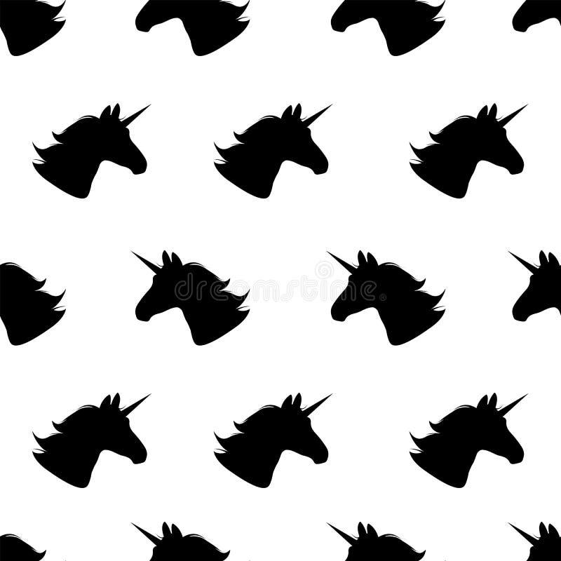 unicorn Naadloos patroon Vector illustratie Zwarte eenhoorns op wit Het herhalen van achtergrond Stoffendruk Textielontwerp eenvo vector illustratie