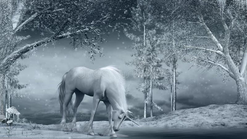 Unicorn near a frozen creek vector illustration