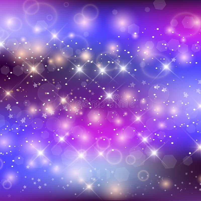 Unicorn Night Galaxy Background With Rainbow Mesh stock illustration