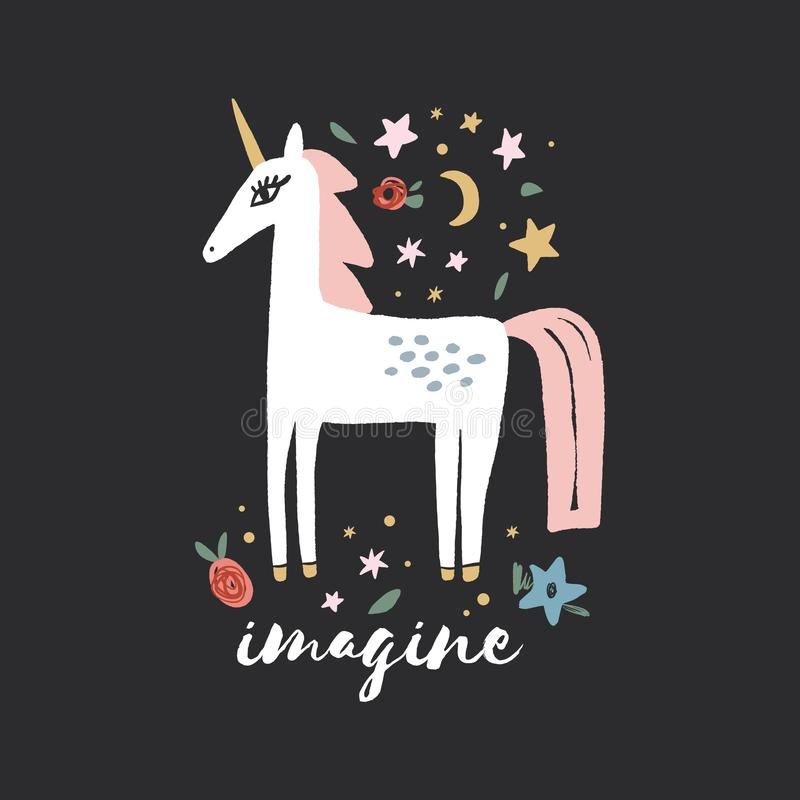 Unicorn nursery wall art, animal prints, baby room pictures, commercial and personal use clip art, vector graphics. Unicorn and flowers nursery scandi wall art royalty free illustration
