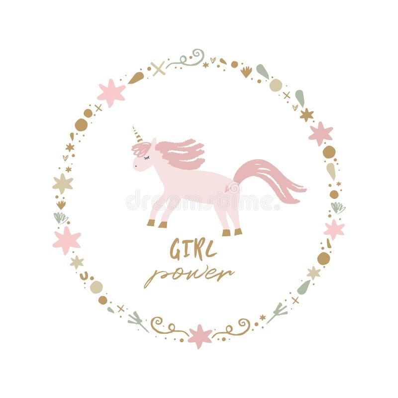 Unicorn nursery wall art, animal prints, baby room pictures, commercial and personal use clip art, vector graphics. Unicorn nursery scandi wall art, animal royalty free illustration
