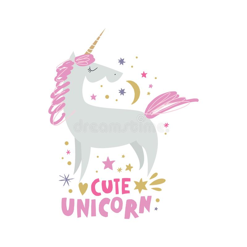 Unicorn nursery wall art, animal prints, baby room pictures, commercial and personal use clip art, vector graphics. Unicorn nursery scandi wall art, animal stock illustration