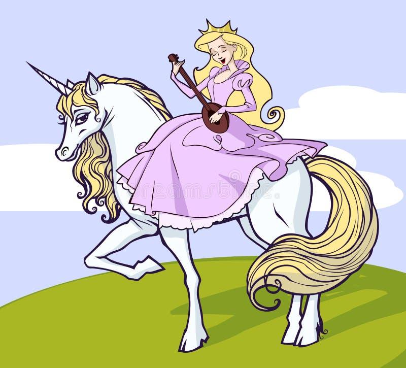 Unicorn och princess royaltyfri illustrationer