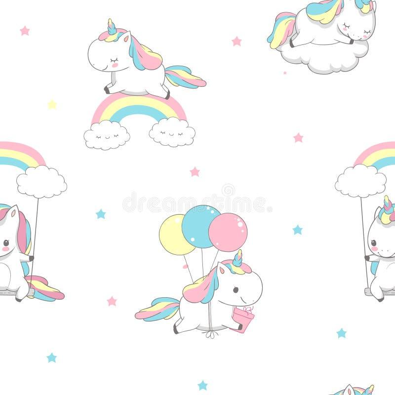 Unicorn Over Rainbow Children Seamless-Muster f?r Verpackungs-Papier Gl?cklich wenig Pony Fly auf Ballon Kinderfeiertags-Gru stock abbildung