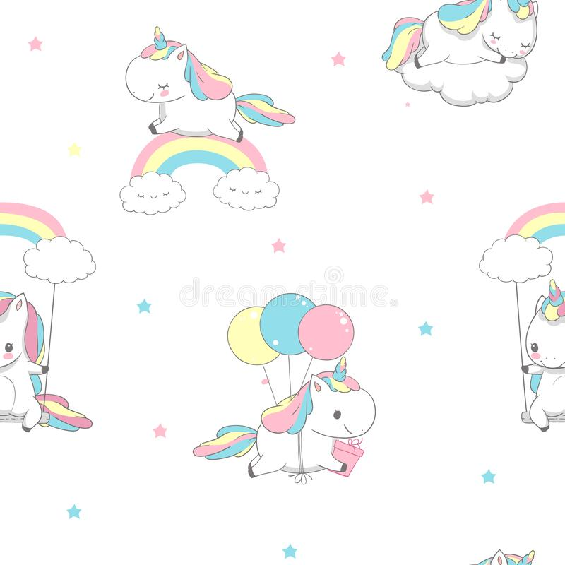 Unicorn Over Rainbow Children Seamless Pattern for Wrap Paper. Happy Little Pony Fly on Balloon. Child Holiday Greeting stock illustration