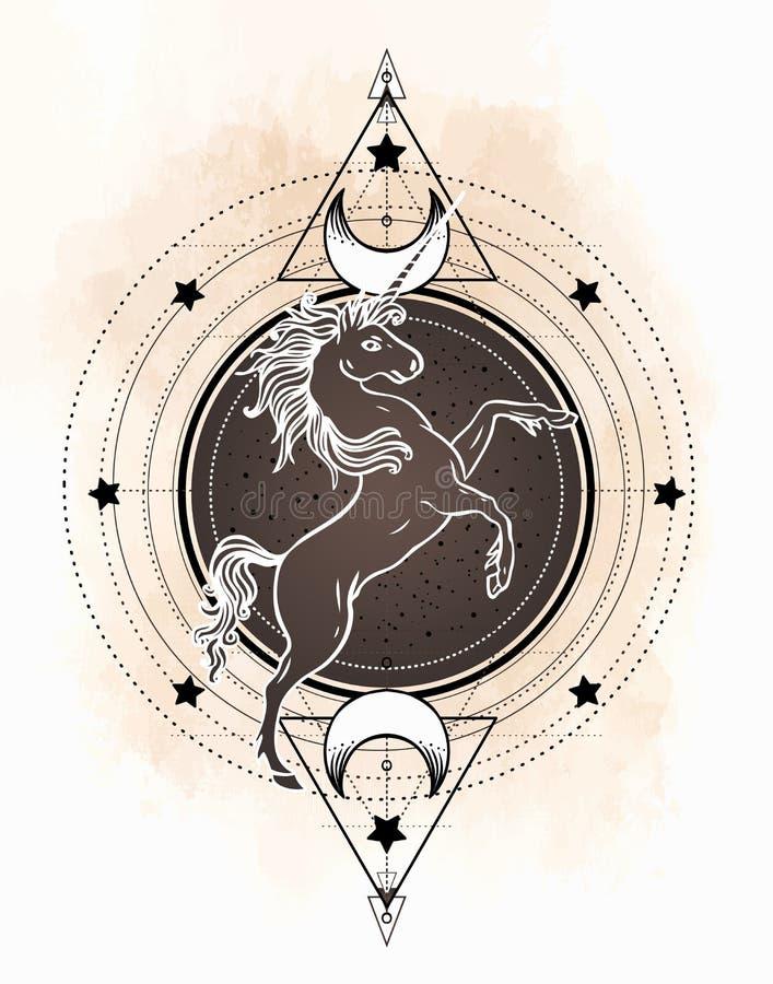 Unicorn over sacred geometry design elements. Alchemy, philosophy, spirituality symbols. Black, white vector illustration in stock illustration