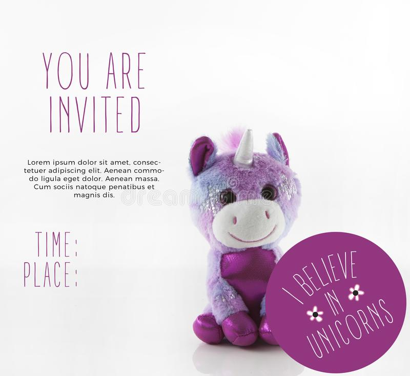 Unicorn Party Invitation Template mignon image libre de droits