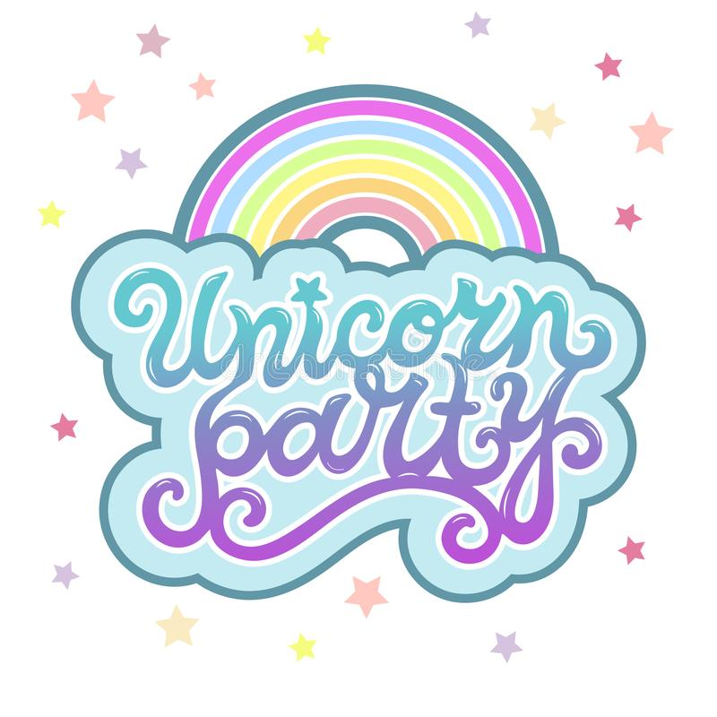 Unicorn Party text som logotypen, emblem, lapp, symbol som isoleras på bakgrund stock illustrationer