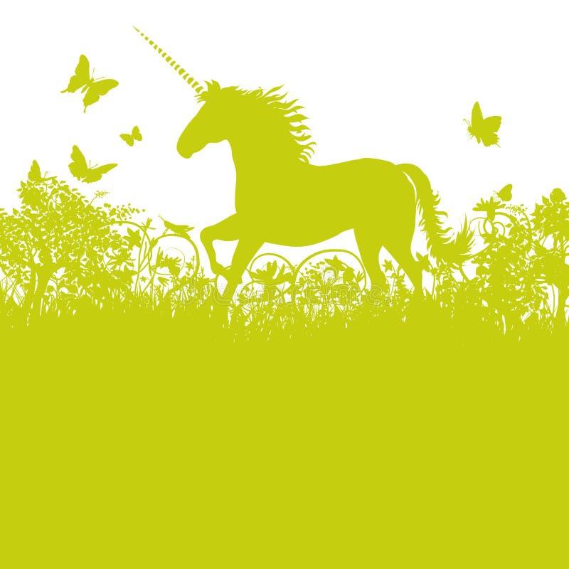 Unicorn in the pasture vector illustration