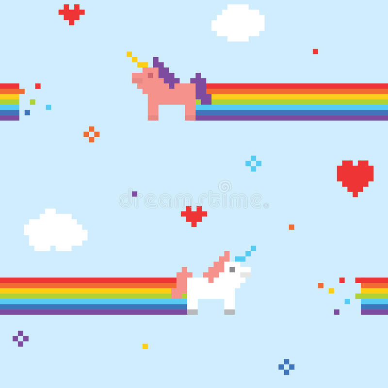 Unicorn pattern. Pixel art unicorns seamless vector pattern