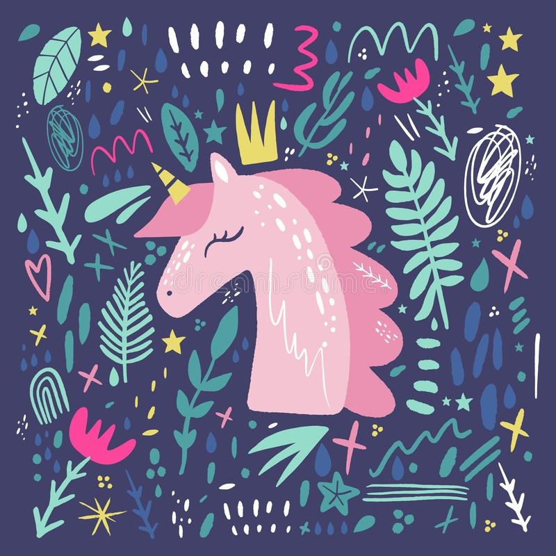 Unicorn pattern vector, cute nursery wall art, animal prints, pastel baby room decor pictures. Clip art, Illustrator EPS royalty free illustration