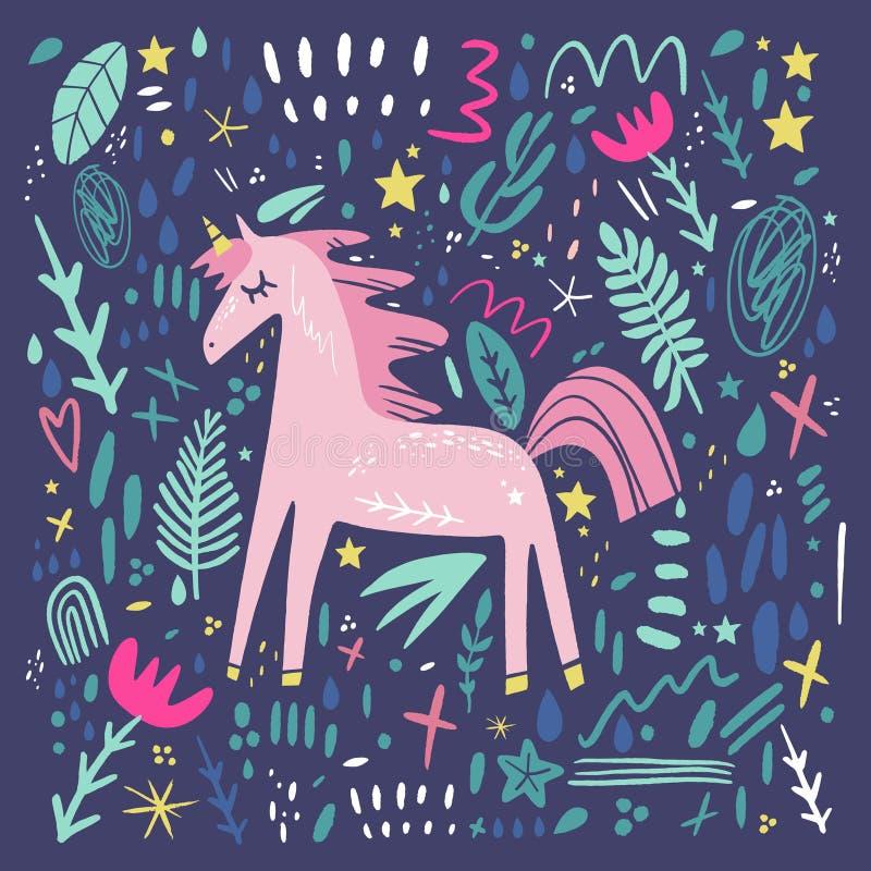 Unicorn pattern vector, cute nursery wall art, animal prints, pastel baby room decor pictures. Clip art, Illustrator EPS and JPG stock illustration