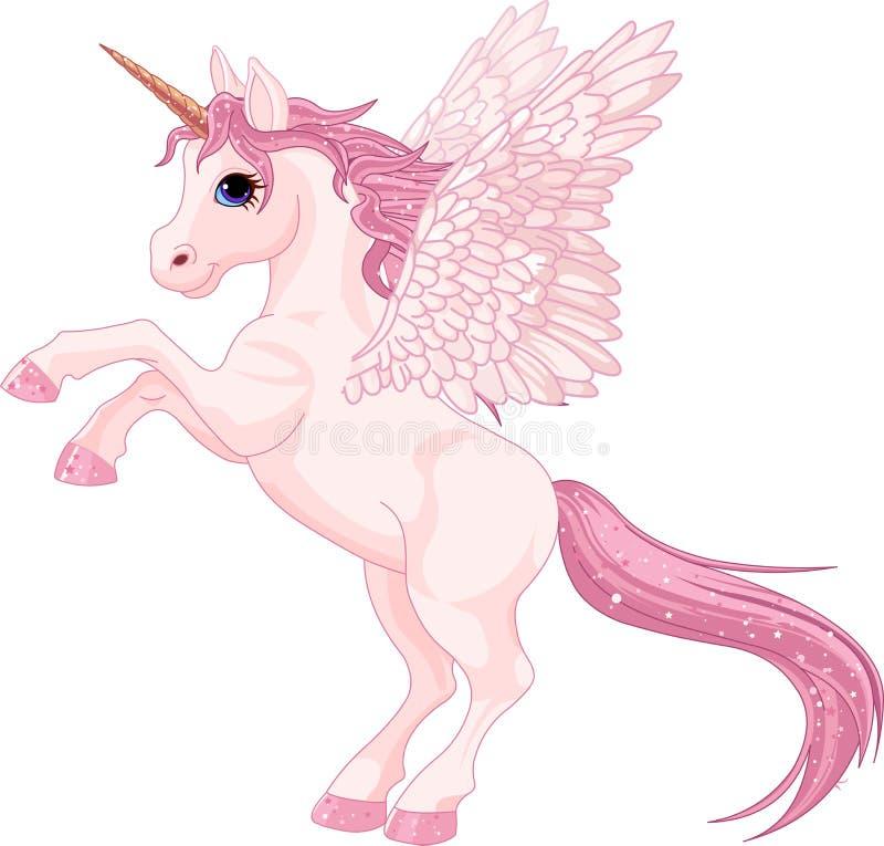 Unicorn Pegasus. Illustration of beautiful pink Unicorn Pegasus
