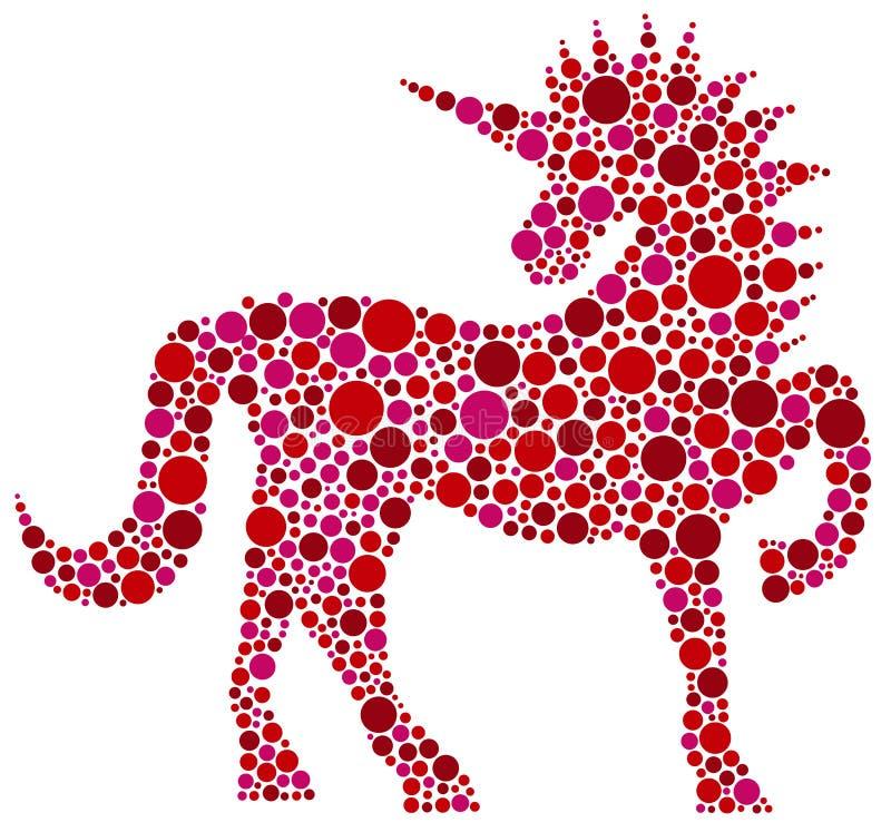 Unicorn Pink Polka Dots-illustratie stock illustratie